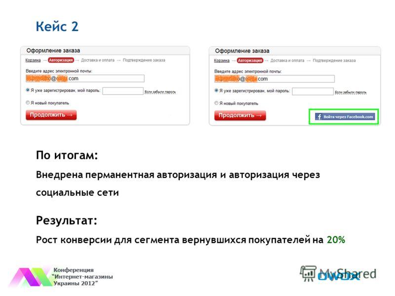 Кейс 2 По итогам: Внедрена перманентная авторизация и авторизация через социальные сети Результат: Рост конверсии для сегмента вернувшихся покупателей на 20%