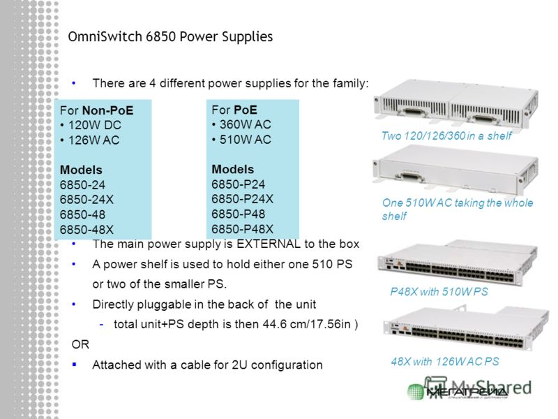 OmniSwitch 6850 Power Supplies There are 4 different power supplies for the family: The main power supply is EXTERNAL to the box A power shelf is used to hold either one 510 PS or two of the smaller PS. Directly pluggable in the back of the unit -tot