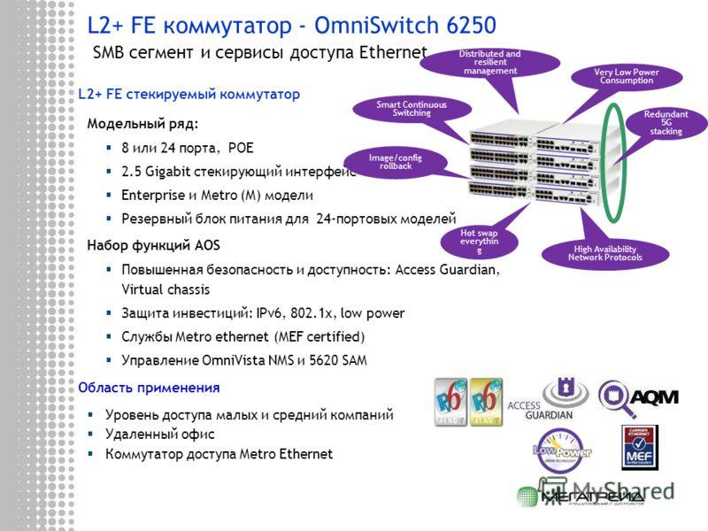 L2+ FE коммутатор - OmniSwitch 6250 SMB сегмент и сервисы доступа Ethernet L2+ FE стекируемый коммутатор Модельный ряд: 8 или 24 порта, POE 2.5 Gigabit стекирующий интерфейс Enterprise и Metro (M) модели Резервный блок питания для 24-портовых моделей