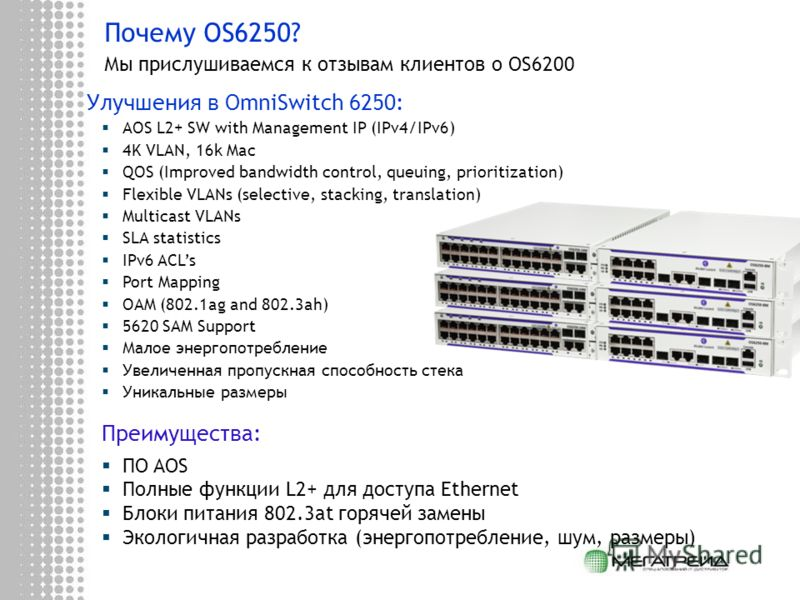 Почему OS6250? Мы прислушиваемся к отзывам клиентов о OS6200 Улучшения в OmniSwitch 6250: AOS L2+ SW with Management IP (IPv4/IPv6) 4K VLAN, 16k Mac QOS (Improved bandwidth control, queuing, prioritization) Flexible VLANs (selective, stacking, transl