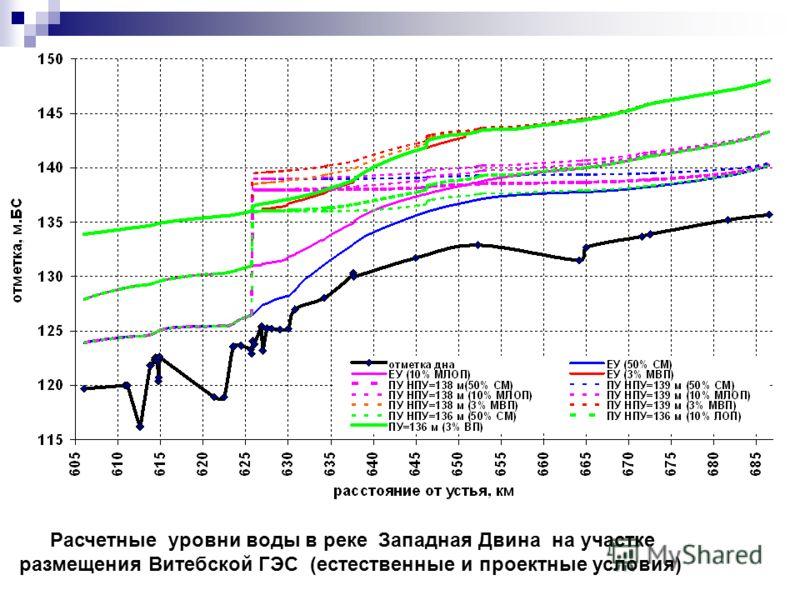 Расчетные уровни воды в реке Западная Двина на участке размещения Витебской ГЭС (естественные и проектные условия)