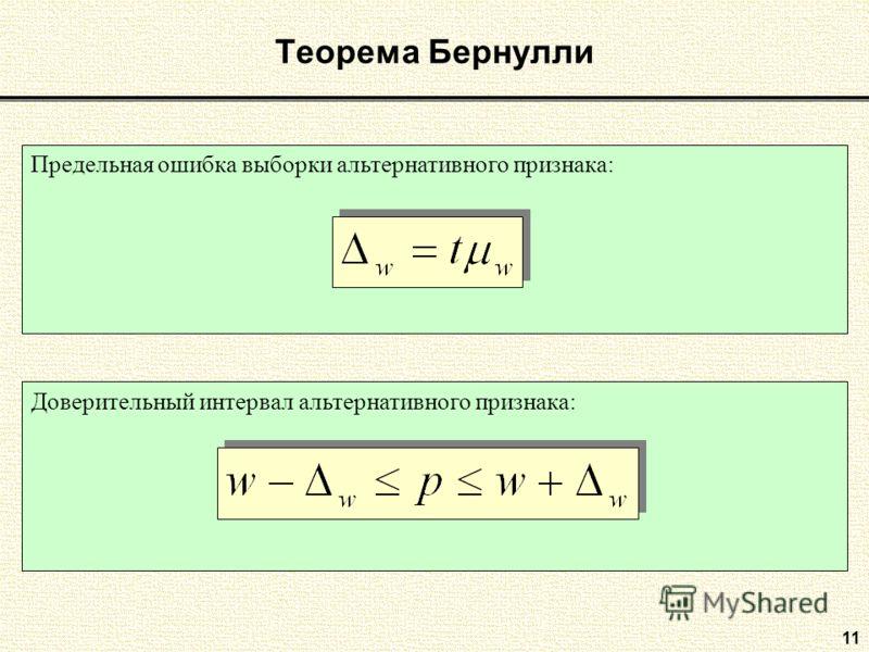 11 Теорема Бернулли Предельная ошибка выборки альтернативного признака:Доверительный интервал альтернативного признака: