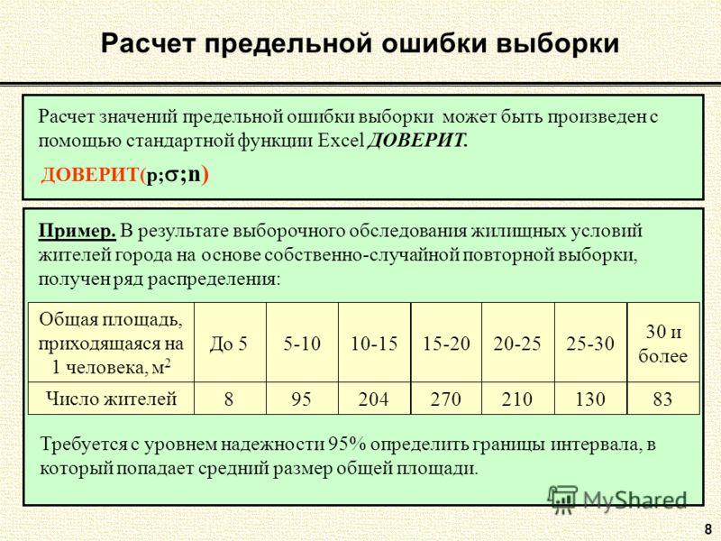 8 Расчет значений предельной ошибки выборки может быть произведен с помощью стандартной функции Excel ДОВЕРИТ. ДОВЕРИТ(p; ;n) Расчет предельной ошибки выборки Пример. В результате выборочного обследования жилищных условий жителей города на основе соб