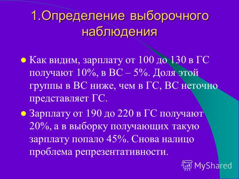 1.Определение выборочного наблюдения Как видим, зарплату от 100 до 130 в ГС получают 10%, в ВС – 5%. Доля этой группы в ВС ниже, чем в ГС, ВС неточно представляет ГС. Зарплату от 190 до 220 в ГС получают 20%, а в выборку получающих такую зарплату поп