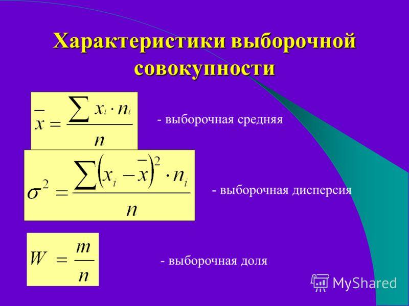 Характеристики выборочной совокупности - выборочная средняя - выборочная дисперсия - выборочная доля