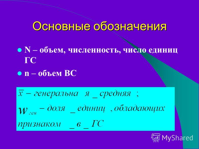 Основные обозначения N – объем, численность, число единиц ГС n – объем ВС