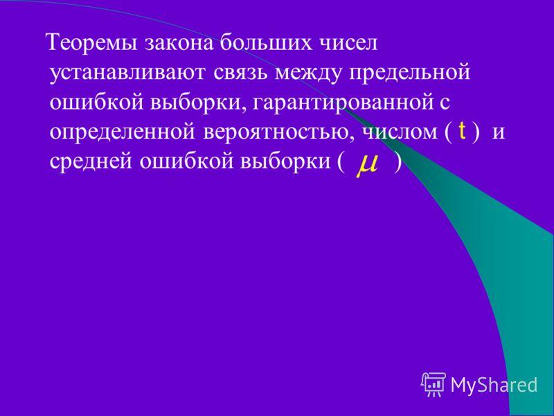 Теоремы закона больших чисел устанавливают связь между предельной ошибкой выборки, гарантированной с определенной вероятностью, числом ( t ) и средней ошибкой выборки ( )