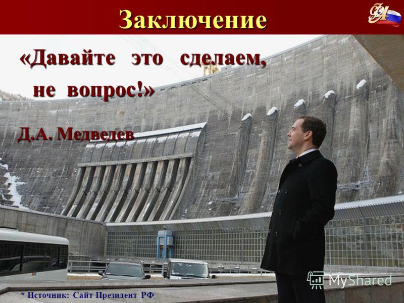 Заключение «Давайте это сделаем, «Давайте это сделаем, не вопрос!» не вопрос!» Д.А. Медведев Д.А. Медведев * Источник: Сайт Президент РФ