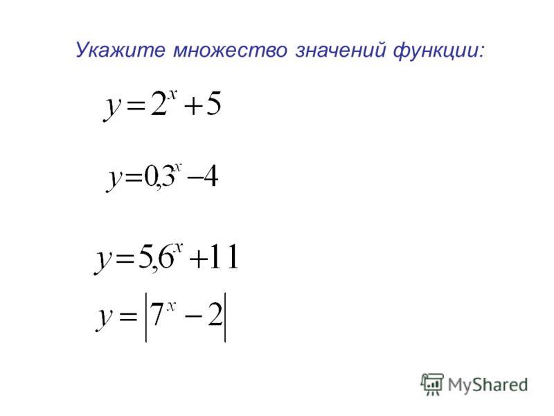 Укажите множество значений функции: