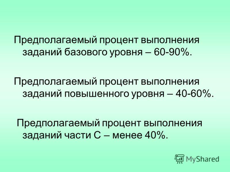 Предполагаемый процент выполнения заданий базового уровня – 60-90%. Предполагаемый процент выполнения заданий повышенного уровня – 40-60%. Предполагаемый процент выполнения заданий части С – менее 40%.