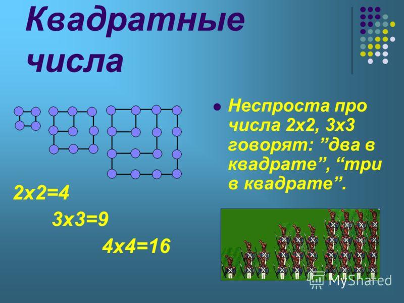 Квадратные числа 2x2=4 3x3=9 4x4=16 Неспроста про числа 2x2, 3x3 говорят: два в квадрате, три в квадрате.