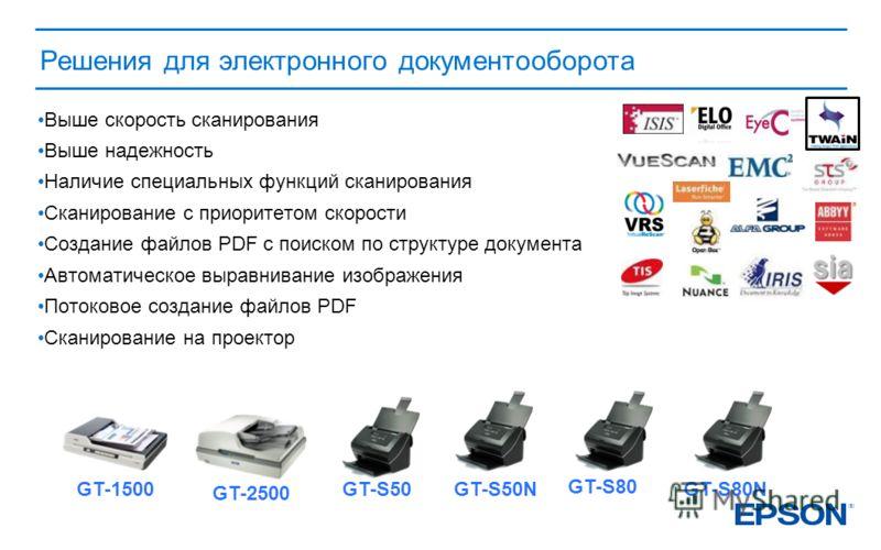 Решения для электронного документооборота GT-2500 GT-1500GT-S50GT-S50N GT-S80 GT-S80N Выше скорость сканирования Выше надежность Наличие специальных функций сканирования Сканирование с приоритетом скорости Создание файлов PDF с поиском по структуре д