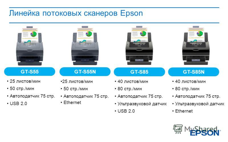 Линейка потоковых сканеров Epson GT-S55 GT-S55N GT-S85 GT-S85N 25 листов/мин 50 стр./мин Автоподатчик 75 стр. USB 2.0 25 листов/мин 50 стр./мин Автоподатчик 75 стр. Ethernet 40 листов/мин 80 стр./мин Автоподатчик 75 стр. Ультразвуковой датчик USB 2.0