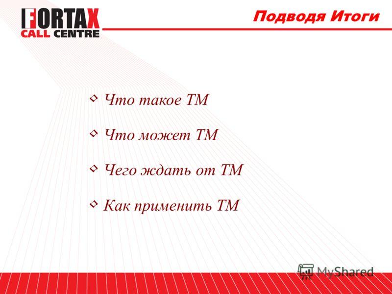 Подводя Итоги Что такое ТМ Что может ТМ Чего ждать от ТМ Как применить ТМ