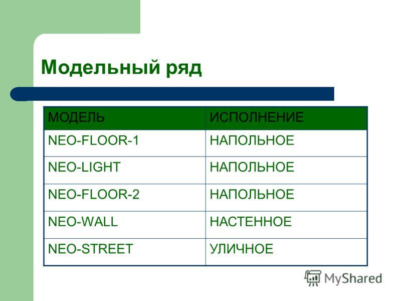 Модельный ряд МОДЕЛЬИСПОЛНЕНИЕ NEO-FLOOR-1НАПОЛЬНОЕ NEО-LIGHTНАПОЛЬНОЕ NEO-FLOOR-2НАПОЛЬНОЕ NEO-WALLНАСТЕННОЕ NEO-STREETУЛИЧНОЕ
