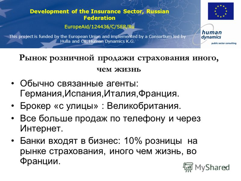 Development of the Insurance Sector, Russian Federation EuropeAid/124436/C/SER/Ru This project is funded by the European Union and implemented by a Consortium led by Hulla and Co, Human Dynamics K.G. 6 Доля рынка в зависимости от канала продаж в %. С