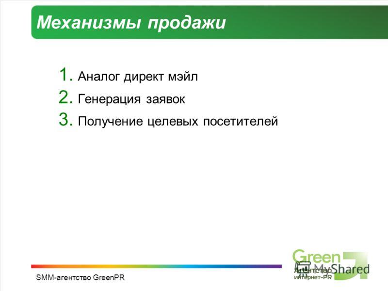 SMM-агентство GreenPR Механизмы продажи 1. Аналог директ мэйл 2. Генерация заявок 3. Получение целевых посетителей