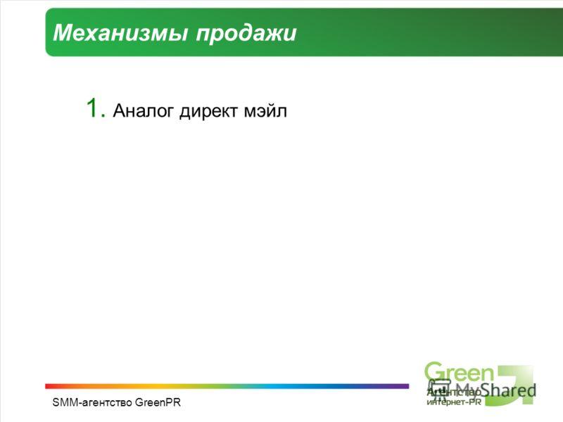 SMM-агентство GreenPR Механизмы продажи 1. Аналог директ мэйл