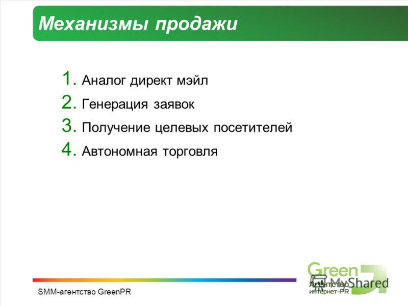 SMM-агентство GreenPR Механизмы продажи 1. Аналог директ мэйл 2. Генерация заявок 3. Получение целевых посетителей 4. Автономная торговля