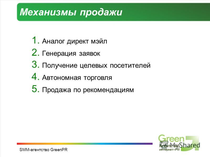 SMM-агентство GreenPR Механизмы продажи 1. Аналог директ мэйл 2. Генерация заявок 3. Получение целевых посетителей 4. Автономная торговля 5. Продажа по рекомендациям