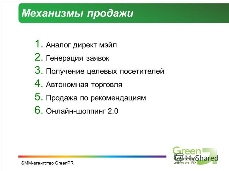 SMM-агентство GreenPR Механизмы продажи 1. Аналог директ мэйл 2. Генерация заявок 3. Получение целевых посетителей 4. Автономная торговля 5. Продажа по рекомендациям 6. Онлайн-шоппинг 2.0