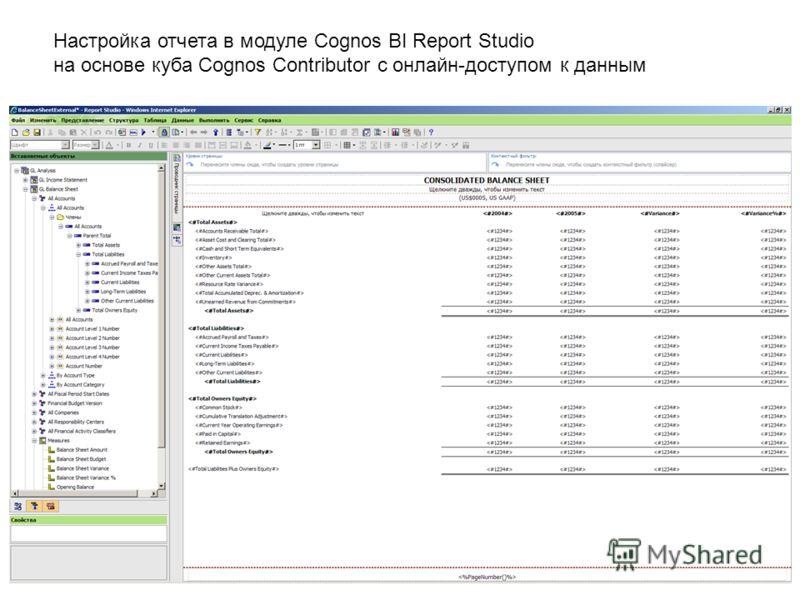 Настройка отчета в модуле Cognos BI Report Studio на основе куба Cognos Contributor с онлайн-доступом к данным
