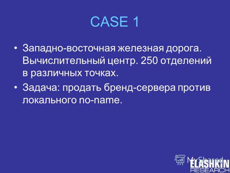 CASE 1 Западно-восточная железная дорога. Вычислительный центр. 250 отделений в различных точках. Задача: продать бренд-сервера против локального no-name.