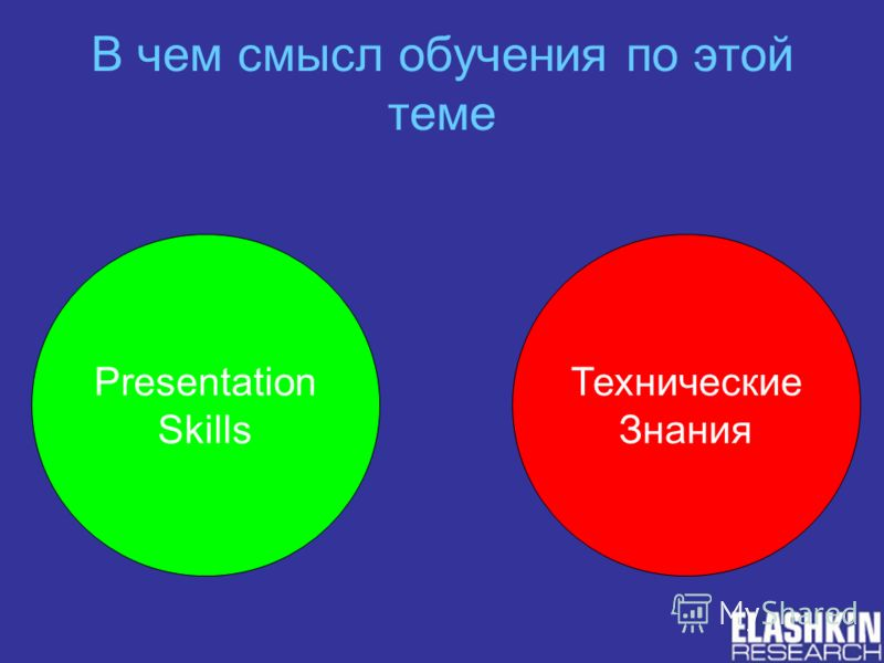 В чем смысл обучения по этой теме Presentation Skills Технические Знания