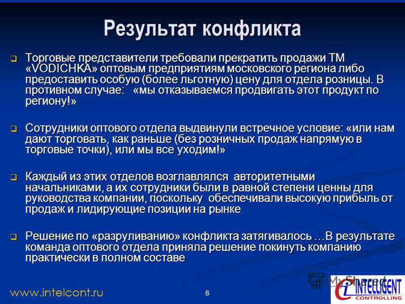 8 www.intelcont.ru Результат конфликта Торговые представители требовали прекратить продажи ТМ «VODICHKA» оптовым предприятиям московского региона либо предоставить особую (более льготную) цену для отдела розницы. В противном случае: «мы отказываемся