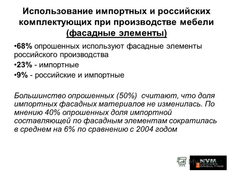 Использование импортных и российских комплектующих при производстве мебели (фасадные элементы) 68% опрошенных используют фасадные элементы российского производства 23% - импортные 9% - российские и импортные Большинство опрошенных (50%) считают, что