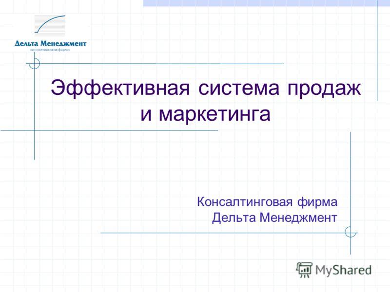 Эффективная система продаж и маркетинга Консалтинговая фирма Дельта Менеджмент
