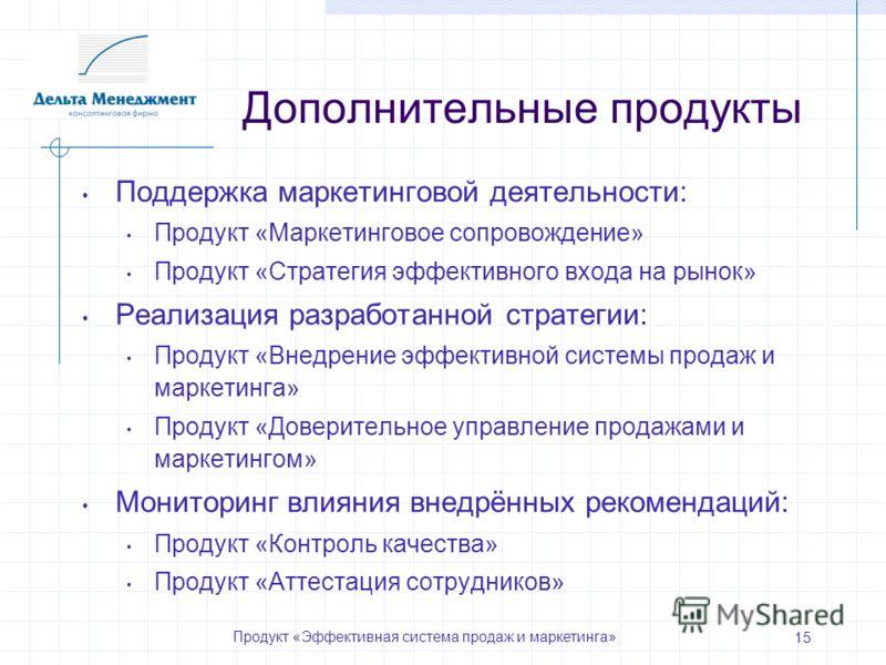 Продукт «Эффективная система продаж и маркетинга» 15 Дополнительные продукты Поддержка маркетинговой деятельности: Продукт «Маркетинговое сопровождение» Продукт «Стратегия эффективного входа на рынок» Реализация разработанной стратегии: Продукт «Внед