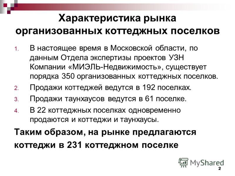 2 Характеристика рынка организованных коттеджных поселков 1. В настоящее время в Московской области, по данным Отдела экспертизы проектов УЗН Компании «МИЭЛЬ-Недвижимость», существует порядка 350 организованных коттеджных поселков. 2. Продажи коттедж