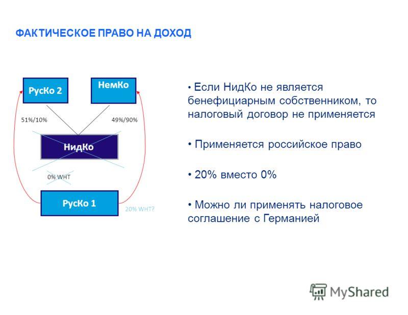 ФАКТИЧЕСКОЕ ПРАВО НА ДОХОД Если НидКо не является бенефициарным собственником, то налоговый договор не применяется Применяется российское право 20% вместо 0% Можно ли применять налоговое соглашение с Германией РусКо 2 НидКо РусКо 1 НемКо 0% WHT 20% W