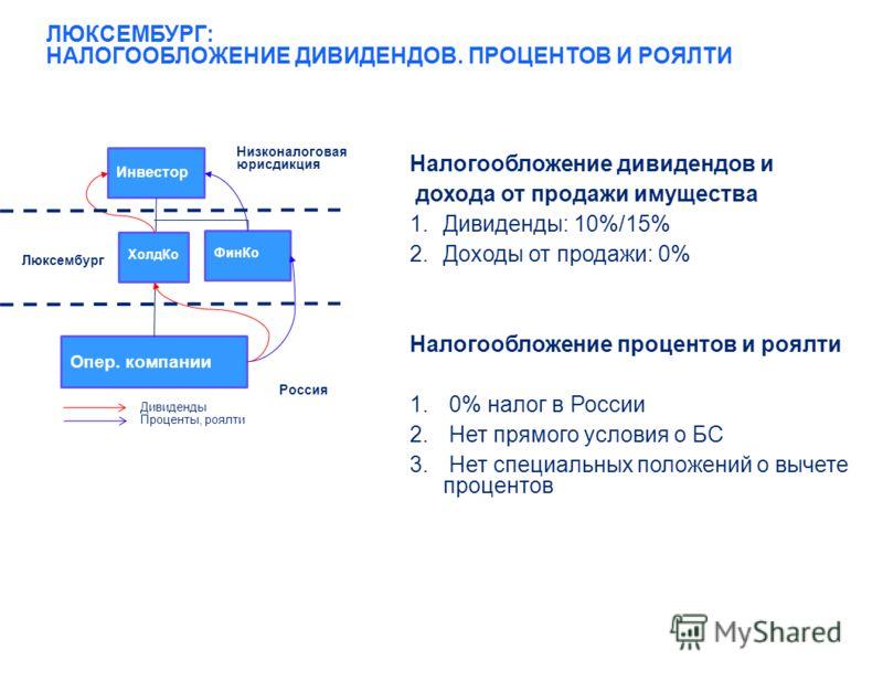 10 ЛЮКСЕМБУРГ: НАЛОГООБЛОЖЕНИЕ ДИВИДЕНДОВ. ПРОЦЕНТОВ И РОЯЛТИ Налогообложение дивидендов и дохода от продажи имущества 1.Дивиденды: 10%/15% 2.Доходы от продажи: 0% Налогообложение процентов и роялти 1. 0% налог в России 2. Нет прямого условия о БС 3.
