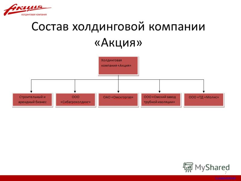 Состав холдинговой компании «Акция» 7 К содержанию