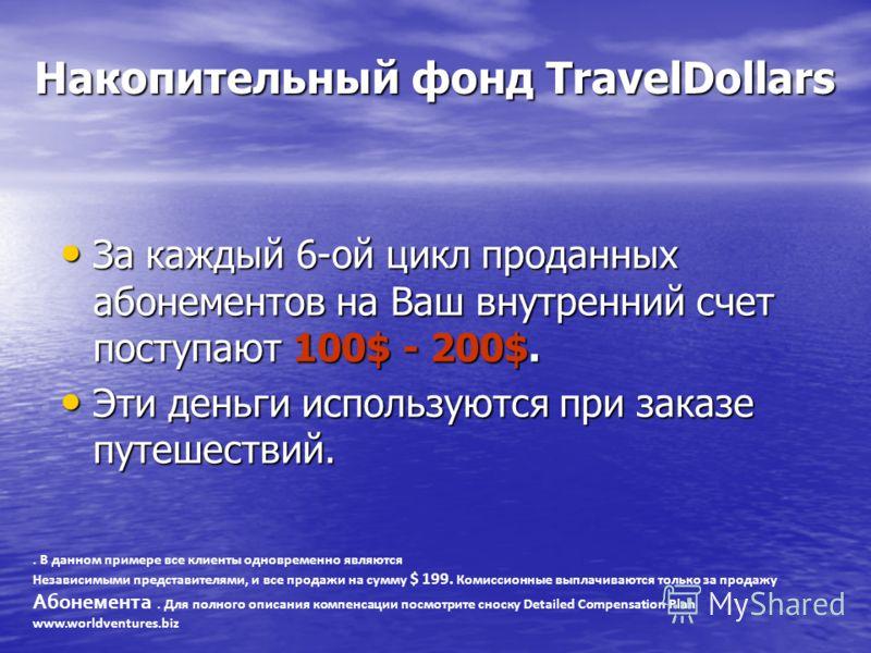 Накопительный фонд TravelDollars Накопительный фонд TravelDollars За каждый 6-ой цикл проданных абонементов на Ваш внутренний счет поступают 100$ - 200$. За каждый 6-ой цикл проданных абонементов на Ваш внутренний счет поступают 100$ - 200$. Эти день