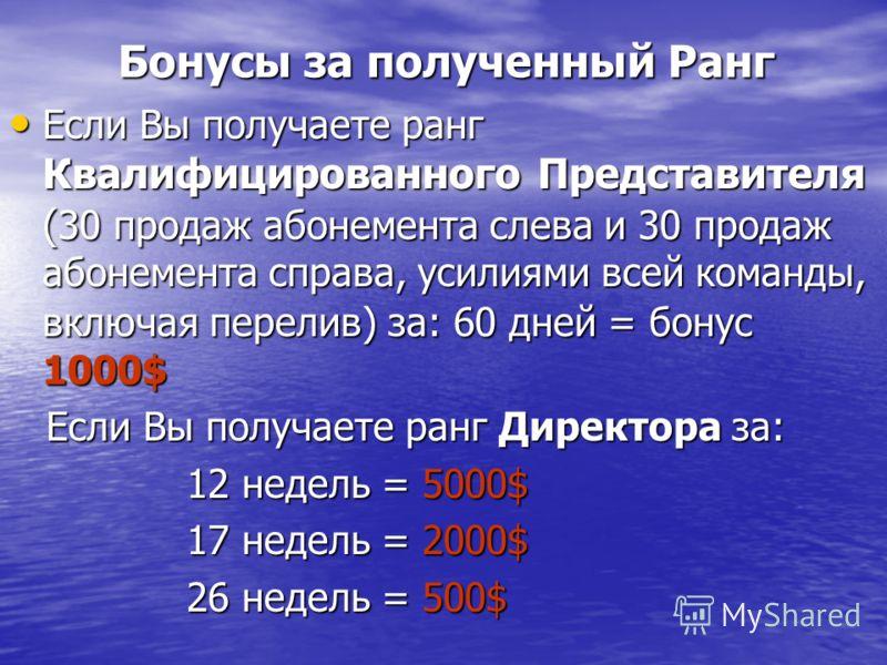 Бонусы за полученный Ранг Бонусы за полученный Ранг Если Вы получаете ранг Квалифицированного Представителя ( 30 продаж абонемента слева и 30 продаж абонемента справа, усилиями всей команды, включая перелив) за: 60 дней = бонус 1000$ Если Вы получает