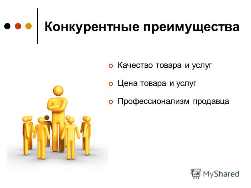 Конкурентные преимущества Качество товара и услуг Цена товара и услуг Профессионализм продавца