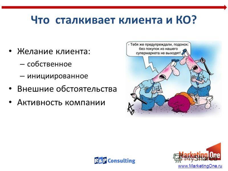 Что сталкивает клиента и КО? Желание клиента: – собственное – инициированное Внешние обстоятельства Активность компании www.MarketingOne.ru