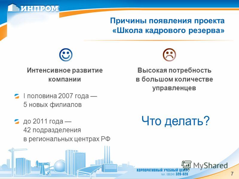 7 Причины появления проекта «Школа кадрового резерва» Интенсивное развитие компании I половина 2007 года 5 новых филиалов до 2011 года 42 подразделения в региональных центрах РФ Высокая потребность в большом количестве управленцев