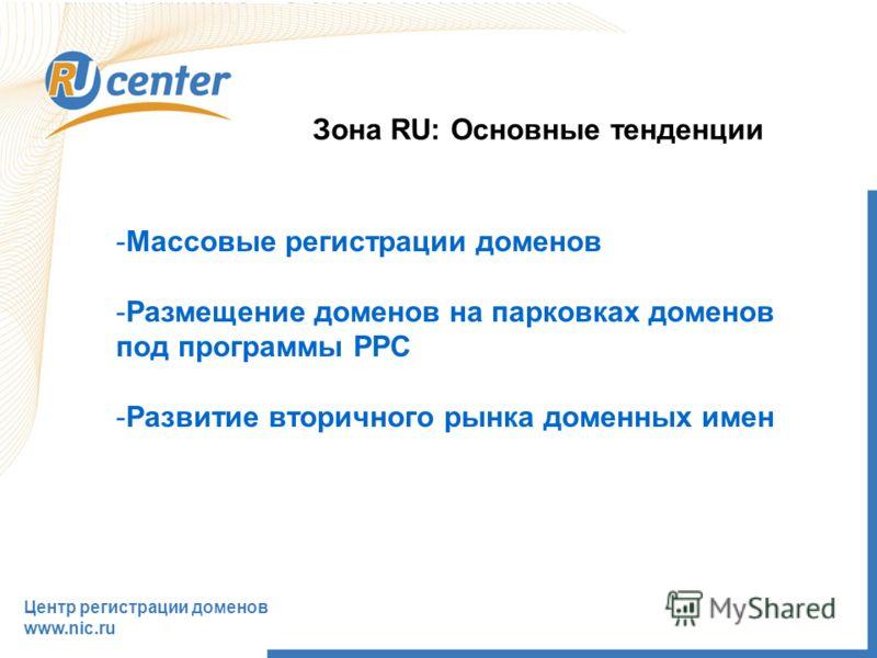 Центр регистрации доменов www.nic.ru Зона RU: Основные тенденции -Массовые регистрации доменов -Размещение доменов на парковках доменов под программы PPC -Развитие вторичного рынка доменных имен