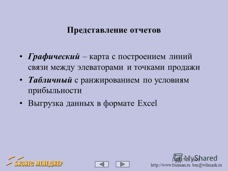 (495) 748 1993 http://www.bizman.ru bm@wilmark.ru Представление отчетов Графический – карта с построением линий связи между элеваторами и точками продажи Табличный с ранжированием по условиям прибыльности Выгрузка данных в формате Excel
