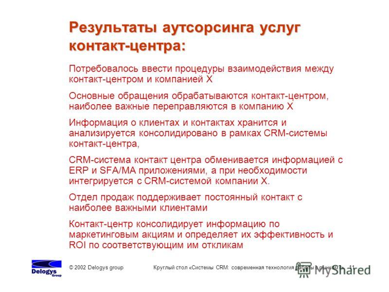 © 2002 Delogys group Круглый стол «Системы CRM: современная технология работы с рынком?» 11 Потребовалось ввести процедуры взаимодействия между контакт-центром и компанией Х Основные обращения обрабатываются контакт-центром, наиболее важные переправл