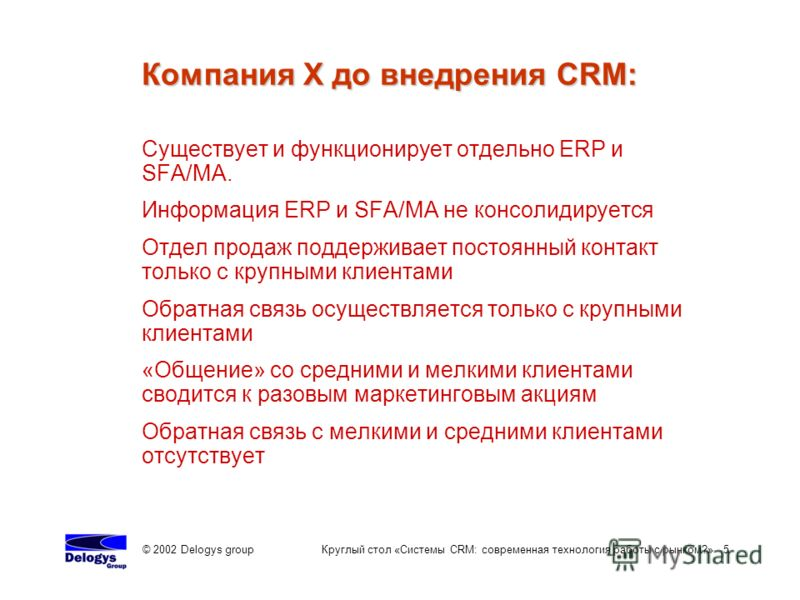 © 2002 Delogys group Круглый стол «Системы CRM: современная технология работы с рынком?» 5 Существует и функционирует отдельно ERP и SFA/MA. Информация ERP и SFA/MA не консолидируется Отдел продаж поддерживает постоянный контакт только с крупными кли