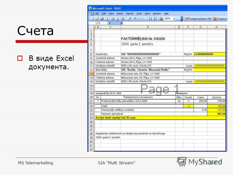 MS TelemarketingSIA Multi Stream24 Счета В виде Excel документа.