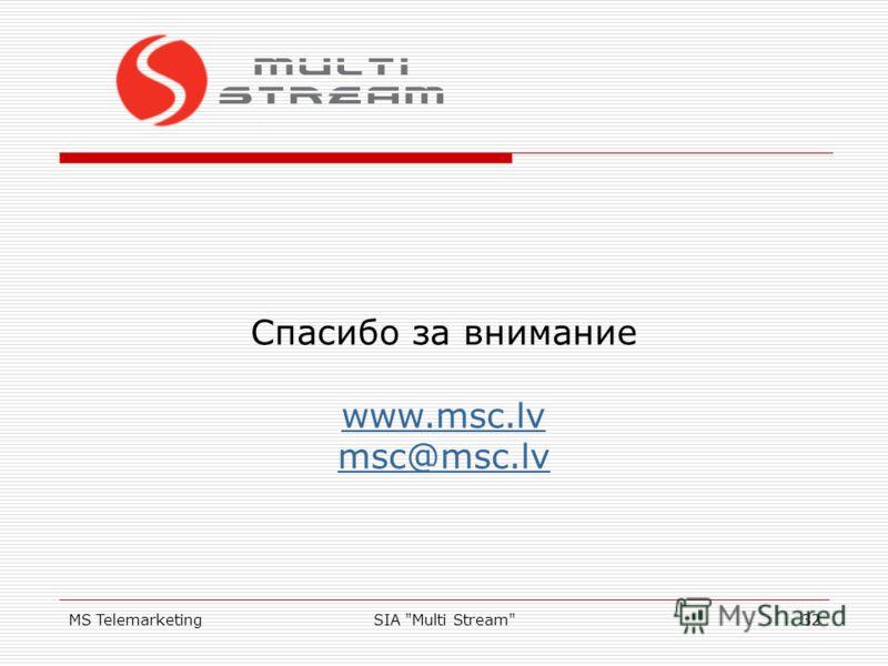 MS TelemarketingSIA Multi Stream32 Спасибо за внимание www.msc.lv msc@msc.lv