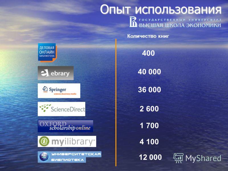Опыт использования Количество книг 400400 40 000 36 000 2 600 4 100 1 700 12 000