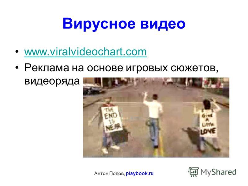 Антон Попов, playbook.ru Вирусное видео www.viralvideochart.com Реклама на основе игровых сюжетов, видеоряда