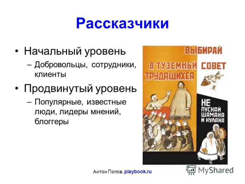 Антон Попов, playbook.ru Рассказчики Начальный уровень –Добровольцы, сотрудники, клиенты Продвинутый уровень –Популярные, известные люди, лидеры мнений, блоггеры